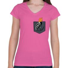 PRINTFASHION ZSEB-Cica röntgen - Női V-nyakú póló - Rózsaszín