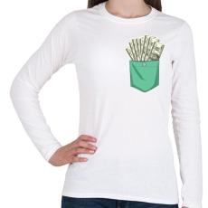 PRINTFASHION ZSEB-Dollár - Női hosszú ujjú póló - Fehér