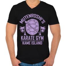 PRINTFASHION Zseniális teknős karate suli - Férfi V-nyakú póló - Fekete