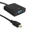 Qoltec Micro HDMI D male Adapter | VGA female | +3.5mm Audio | 0.2m