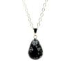 Ragyogj.hu Csepp alakú természetes kőből készült nyaklánc - fekete-fehér foltos