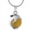 Ragyogj.hu Delfin  - nyaklánc - citromsárga kővel