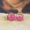 Ragyogj.hu Dupla fülbevaló - kristályokkal - rózsaszín