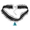 Ragyogj.hu Gótikus csipkés nyaklánc- háromszög alakú Swarovski kristállyal- kék