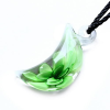Ragyogj.hu Muránói üveg medál, hold alakú - zöld