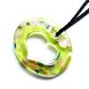 Ragyogj.hu Muránói üveg medál, szív alakú lyukkal - zöldessárga