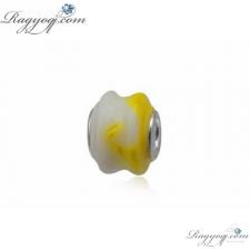 Ragyogj.hu Pandor@ Style Murano üveg medál - fehér és sárga, hullámos - ezüst medál