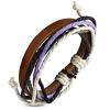 Ragyogj.hu Színes, kötélből és barna bőrszalagból készült karkötő 10.