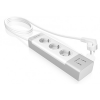 RaidSonic IB-CB004 - Extension cords with 3 outlets and 2 USB charge ports szürke