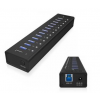 RaidSonic Icy Box 13 Port USB 3.0 Hub with USB charge port, Black