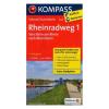 Rajna menti kerékpáros útvonal 1. térkép Stein am Rhein - Mannheim / Kompass