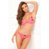 Rene Rofe 2PC Lace Peek-a-Boo Set Pink S/M