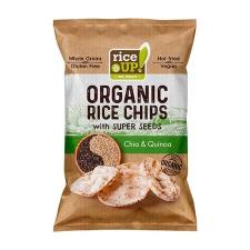 """Rice Up Barnarizs chips, 25 g,  """"Bio"""", chia maggal és quinoával biokészítmény"""