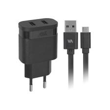 """RivaCase Hálózati töltő, 2 x USB, 2,4A, micro USB kábellel, RIVACASE """"VA 4122 BD1"""", fekete kábel és adapter"""