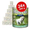 Rocco Junior gazdaságos csomag 24 x 800 g - Mix: pulyka & borjúszív + csirkeszív
