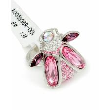 Ródiummal bevont bogaras gyűrű rózsaszín Swarovski kristályokkal #7 + AJÁNDÉK DÍSZDOBOZ gyűrű