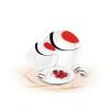 ROTBERG Sószóró, porcelán, csepp alakú, 7,5 cm magas, ROTBERG, fehér, piros-fekete mintával