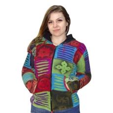 rövid kabát nepálból színes kockás om mintával XL