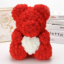 Rózsa maci díszdobozban, örök virág maci - piros fehér szívvel 40 cm dekoráció