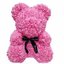 Rózsa maci díszdobozban, örök virág maci - rózsaszín 40 cm dekoráció