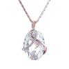 Rózsaarannyal bevont ovális nyaklánc áttetsző ausztriai kristályokkal + AJÁNDÉK DÍSZDOBOZ (0634.)