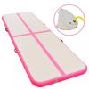 Rózsaszín PVC felfújható tornaszőnyeg pumpával 500x100x10 cm