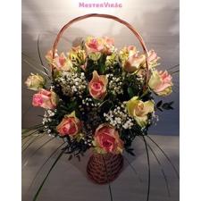 Rózsaszín rózsa kosár - Virágküldés  árak 54fa2338a1
