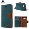 Samsung Galaxy J5 SM-J500F, Oldalra nyíló tok, stand, Mercury Canvas Diary, textil hatás, zöld