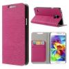 Samsung Galaxy S5 SM-G900, oldalra nyíló tok, stand, kéregmintás, magenta