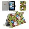 Samsung Galaxy Tab 2 7.0 P3100, bőrtok, mappa tok, virágminta, zöld