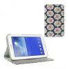 Samsung Galaxy Tab 3 Lite 7.0 SM-T110, bőrtok, mappa tok, virágmintás, kék
