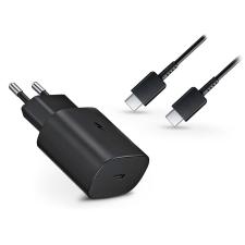 Samsung gyári Type-C hálózati töltő adapter + Type-C adat- és töltőkábel - 5V/3A - EP-TA800EBE PD3.0 + EP-DG980BBE - black (ECO csomaglás) mobiltelefon kellék
