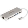 SANDBERG USB-C HDMI+LAN+SD+USB, 61W dokkoló állomás