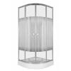 Sanimix Negyedköríves zuhanykabin csíkos üveggel, zuhanytálcával króm profillal
