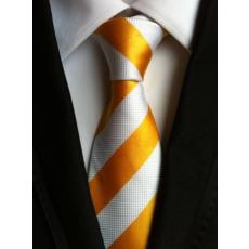 Sárga - fehér csíkos nyakkendő
