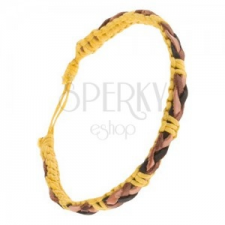Sárga zsinóros karkötő, barna-fekete bőr sáv a felületén karkötő