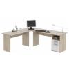 Sarok számítógépasztal, sonoma tölgyfa + fehér, MAURUS MA11