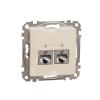 Schneider Electric SDD112467S Informatikai csatlakozóaljzat 2xRJ45, Cat6A STP, bézs burkolattal, keret nélkül, csavaros bekötés (Sedna Design / Elements)