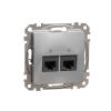 Schneider Electric SDD113462 Informatikai csatlakozóaljzat 2xRJ45, Cat6 UTP, alumínium burkolattal, keret nélkül, csavaros bekötés (Sedna Design / Elements)
