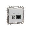 Schneider Electric SDD113469T kombinált csatlakozóaljzat 1xRJ45 + 1xTV (informatikai UTP cat6 + végzáró 4dB) alumínium burkolattal, keret nélkül, csavaros bekötés (Sedna Design / Elements)