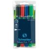 """SCHNEIDER Tábla- és flipchart marker készlet, 1-3 mm, kúpos,  """"Maxx Eco"""", 4 különböző szín"""