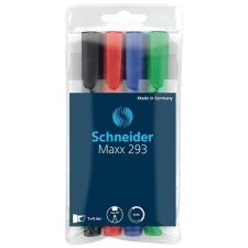 """SCHNEIDER Tábla- és flipchart marker készlet, 2-5 mm, vágott,  """"Maxx 293"""", 4 különböző szín filctoll, marker"""