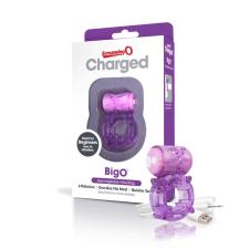 Screaming Charged BigO - akkus, csillagos péniszgyűrű (lila) péniszgyűrű