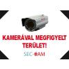 Sec-CAM Figyelmeztető műanyag tábla - KAMERÁVAL MEGFIGYELT TERÜLET