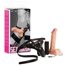 SEXXBIAN Strap-on 8 - felcsatolható vibrátor (natúr) szexjáték