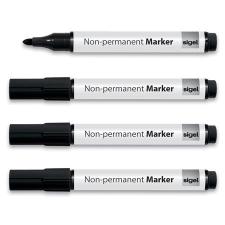 SIGEL Alkoholmentes marker, 1-3 mm, kúpos, 4 db/csomag, SIGEL, fekete filctoll, marker