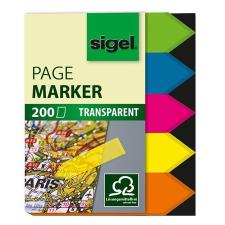 """SIGEL Jelölőcímke, műanyag, 5x40 lap, 12x45 mm, SIGEL """"Nyilak"""", vegyes szín, 200 lap jegyzettömb"""