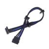 Silverstone 4-Pin Molex - 4x SATA hosszabbító - 300mm fekete/kék