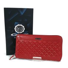 SLM GIULTIERI kocka nyomatos, piros nagy körzippes pénztárca SUN02