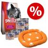 Smilla Szett: Smilla Kitten kezdőcsomag + macskaágy! - 1 kg száraztáp + 6 x 200 g borjúhúsos nedvestáp